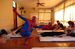 David changed into his Spidey costume while we were all blindfolded in order to sense more with our hands.