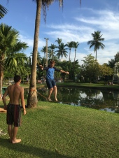 Slack lining in the park