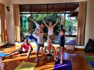 My fellow yoga buds led by Kam Thye Chow each morning at Sunshine Massage School