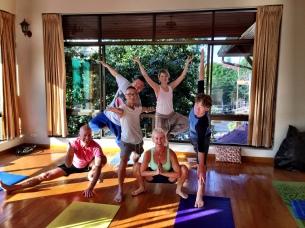 My fellow yoga buds led by Kam Thye Chow each morning at Sunshine Massage School