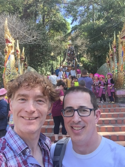 At the base of the 300 steps to Doi Sutep with a client from home!