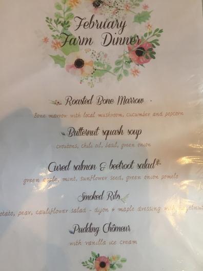 Farm Dinner Menu