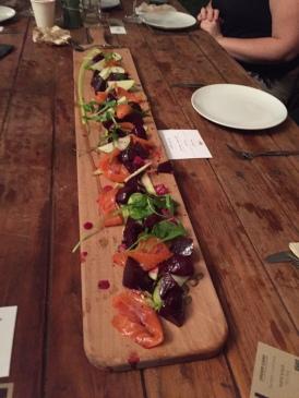 Salmon and beet salad