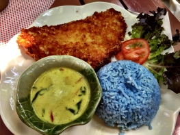 Fish green curry and blue pea flower rice