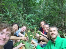 Lunch on a banana leaf stream side