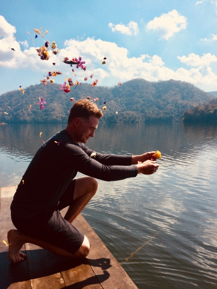 Flower offering to the lake